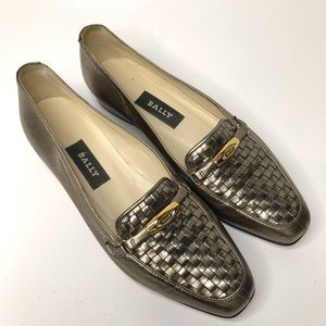 Bally Vanessa Leather Loafer Size 6.5 Metallic